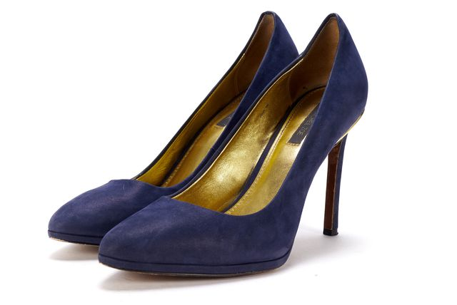 RACHEL ZOE Navy Blue Suede Pointed Toe Pump Heels