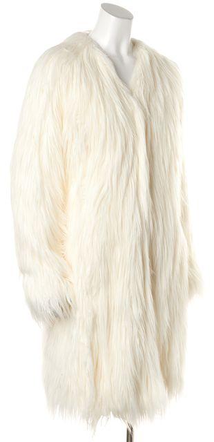 RACHEL ZOE White Faux Fur Long Snap Button Closure Winter Coat Jacket
