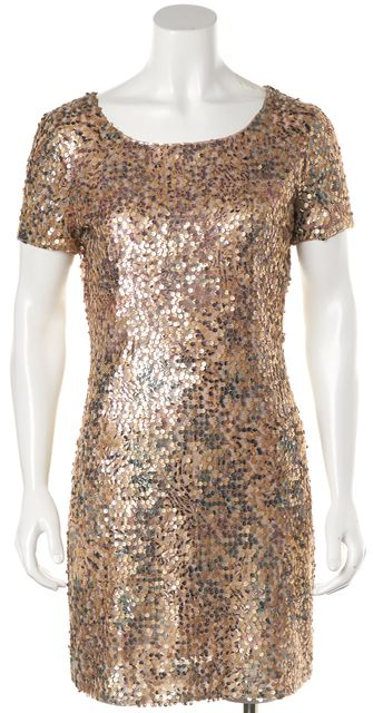 RACHEL ZOE Gold Sequin Short Sleeve Sheath Dress