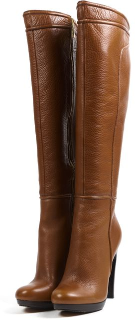 RACHEL ZOE Tan Brown Pebbled Grain Leather Knee-high Tall Boots