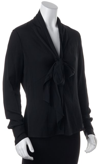RACHEL ZOE Black Silk Bow Tie Button Down Top