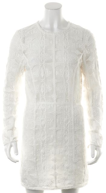 RACHEL ZOE White Embroidered Net Lace Trim Semi Sheer Shift Dress