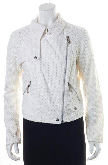 RACHEL ZOE White Eyelet Zip Front Open Knit Sleeve Basic Jacket