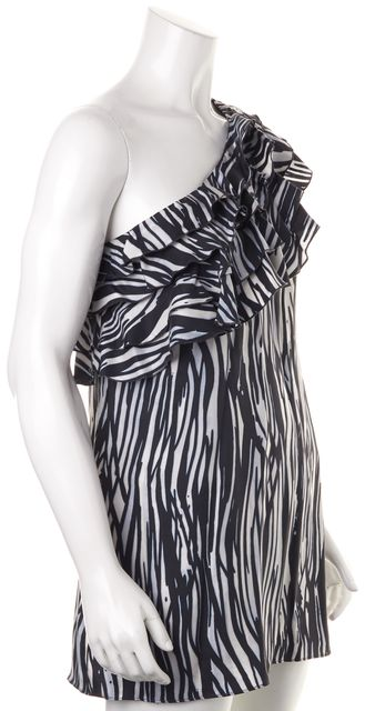 RACHEL ZOE Black White Abstract Silk Blouse Top