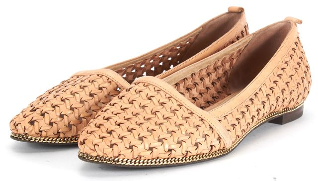 RACHEL ZOE Beige Woven Leather Gold Tone Chain Trim Pointed Toe Flats
