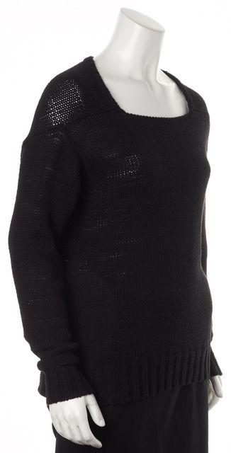 RACHEL ZOE Black Open Knit Asymmetric Scoop Neck Sweater