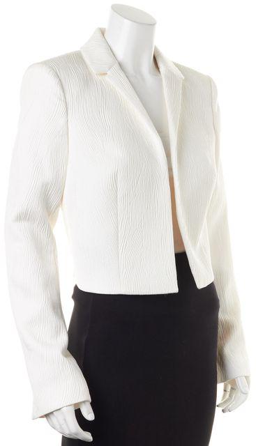RACHEL ZOE White Textured Cropped Open Blazer