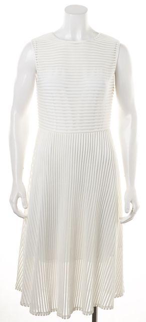 RACHEL ZOE Ivory Sheer Panels Striped Sleeveless Fit & Flare Dress
