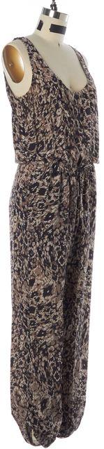 RACHEL ZOE Brown Black Abstract Silk Drawstring Sleeveless Jumpsuit