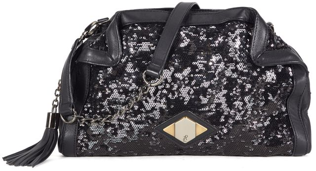 RACHEL ZOE Black Sequin Embellished Leather Trim Chain Shoulder Bag