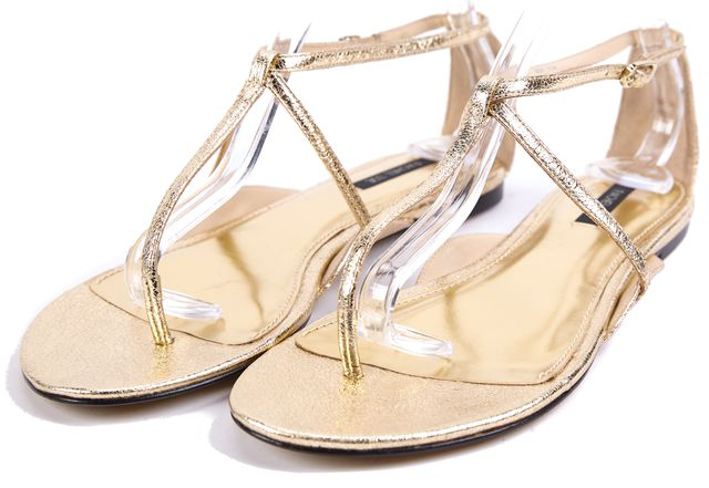 RACHEL ZOE Gold Crackle Leather T-Strap Sandals