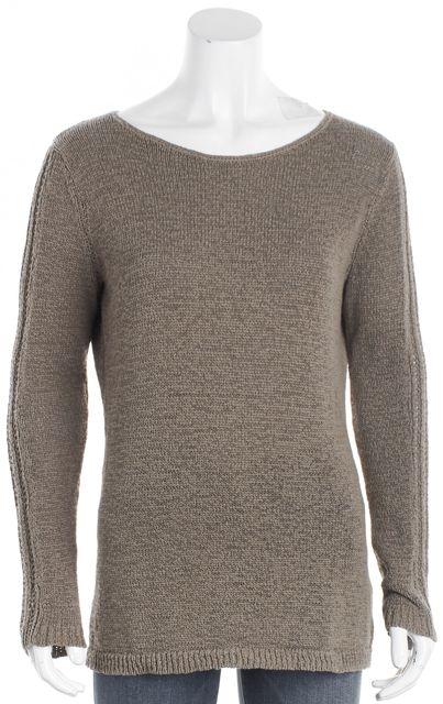 ... RACHEL ZOE Khaki Brown Open Knit Scoop Neck Sweater