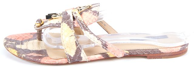 RACHEL ZOE Multi-color Animal Print Leather Slip-on Sandals