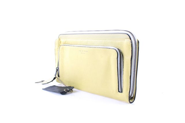 RAG & BONE Yellow Leather Double Pocket Zip Pouch Clutch