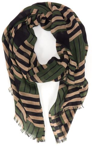 RAG & BONE Green Black Fringe Long Scarf