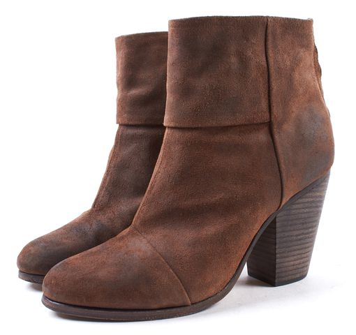RAG & BONE Brown Distressed Leather Newbury Heeled Ankle Boots Size 9.5