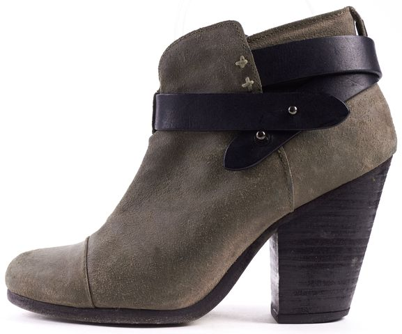 RAG & BONE Gray Leather Harrow Ankle Boot Size 35 Comes in Box