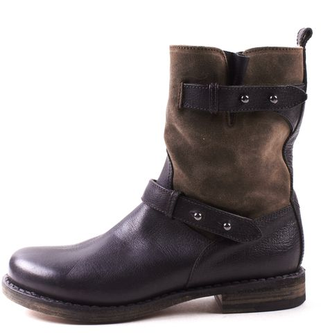 RAG & BONE Black Brown Suede Leather Oliver Shearling Boots Size 39