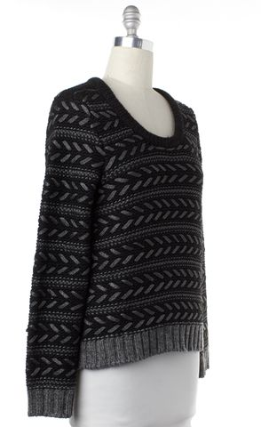 RAG & BONE Black Metallic Gray Striped Knit Crewneck Sweater Size L