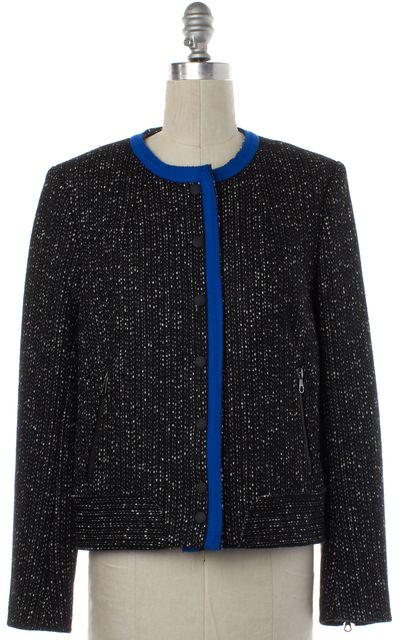 RAG & BONE Black Ivory Speckle Blue Trim Wool Basic Jacket