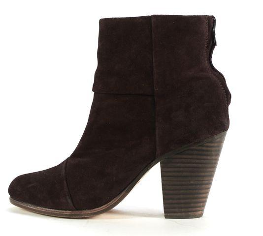 RAG & BONE Burgundy Suede Stacked Heel Ankle Boots