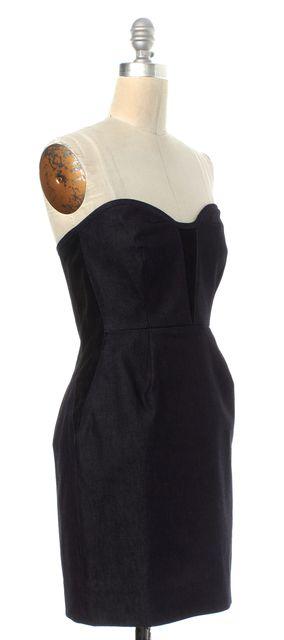 RAG & BONE Black Denim Fit & Flare Strapless Dress