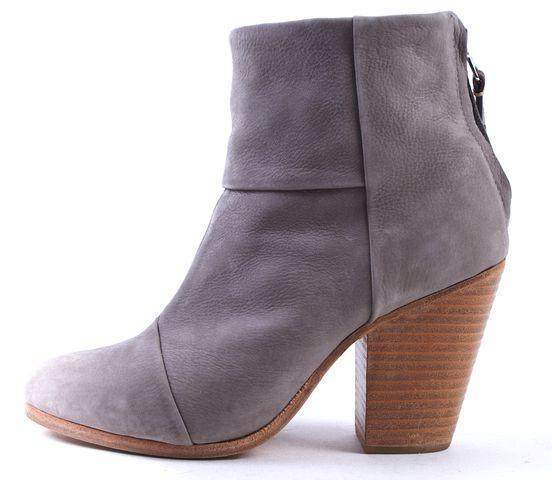 RAG & BONE Gray Nubuck Leather Newbury Ankle Boots Size 37.5