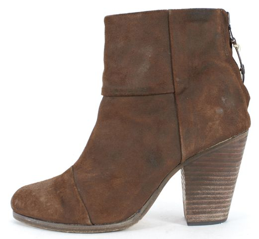 RAG & BONE Brown Distressed Suede Newbury Ankle Boots Size 37.5