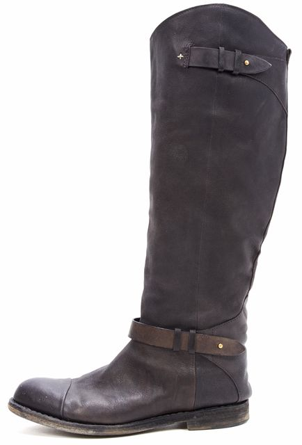 RAG & BONE Brown Leather Knee-high Boot with Buckle Detail Tall Boots