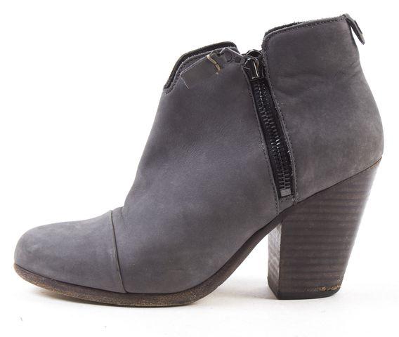 RAG & BONE Gray Nubuck Leather Margot Ankle Boots