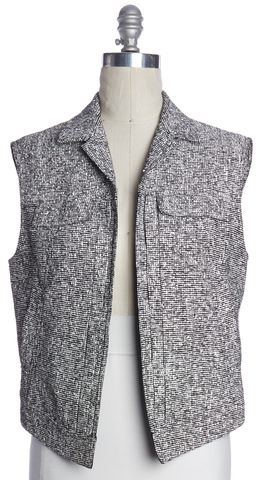 RAG & BONE White Black Textured Knit Wool Open Vest Size S
