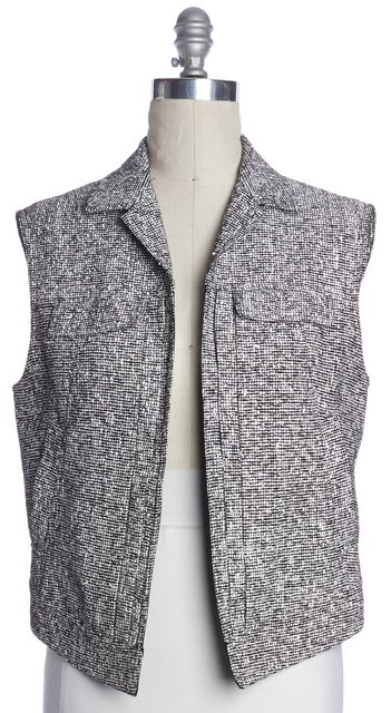 RAG & BONE White Black Textured Knit Wool Open Vest