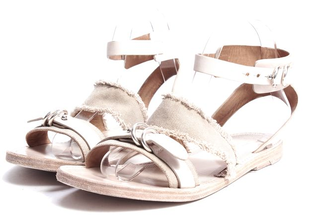 RAG & BONE Beige Leather Canvas Ankle Strap Flat Sandals