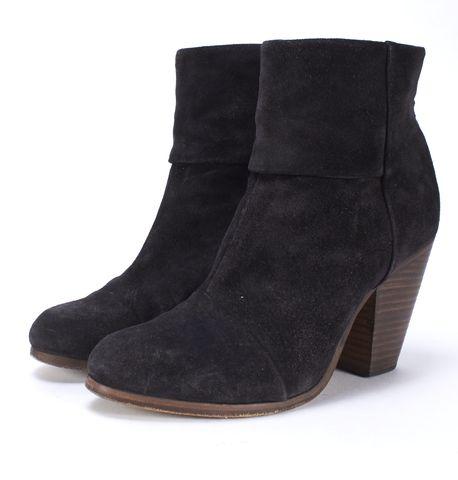 RAG & BONE Black Suede Classic Newbury Ankle Boots Size 39