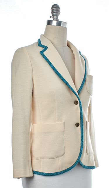 RAG & BONE Ivory Blue Trim Wool Blazer