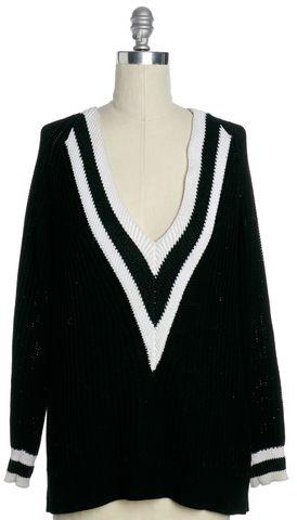 RAG & BONE Black White Ribbed V-Neck Sweater