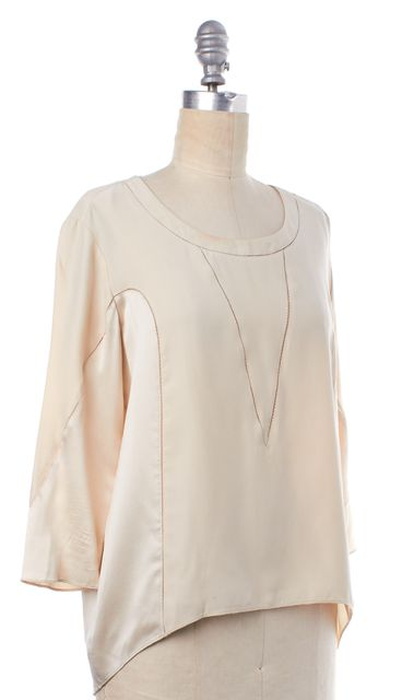 RAG & BONE Ivory Relaxed Fit 3/4 Sleeve with Detailed Stitching Silk Blouse