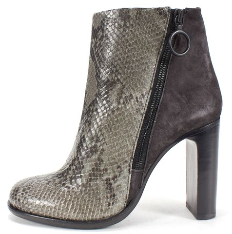 RAG & BONE Gray Python Embossed Leather Stacked Heel Ankle Boots