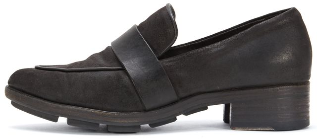 RAG & BONE Black Brushed Leather Loafers