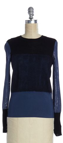 RAG & BONE Black Blue Color Block Mixed Media Sweater
