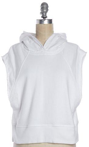 RAG & BONE White Sleeveless Hooded Sweatshirt Vest
