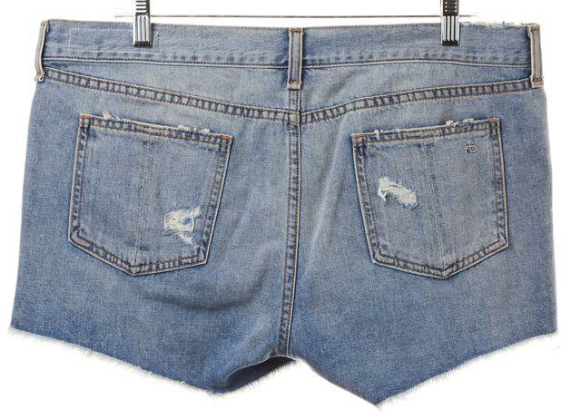 RAG & BONE Blue Light Wash Distressed Denim Shorts