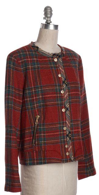 RAG & BONE Red Multicolor Plaids Wool Basic Jacket