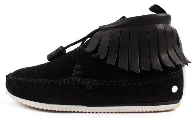RAG & BONE Black Suede Hidden Platform Moccasin Ankle Boots