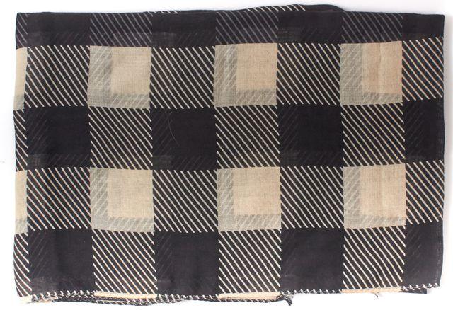 RAG & BONE Black Beige Wool Checkerboard Scarf