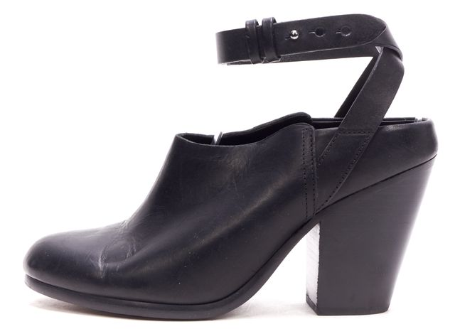 RAG & BONE Black Leather Anke Strap Mules