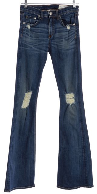 RAG & BONE Blue Beckett 10 Inch Bell Distressed Flare Jeans