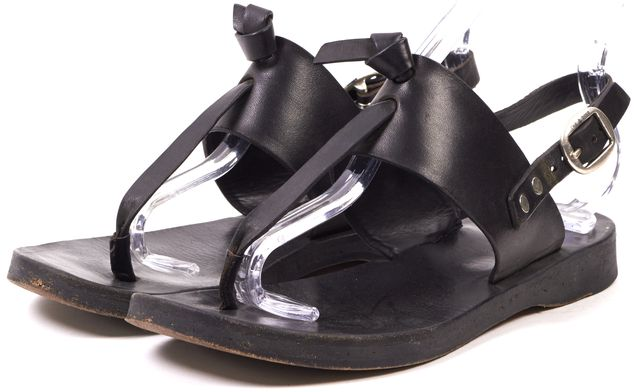RAG & BONE Black Leather T Strap Slingback Sandals