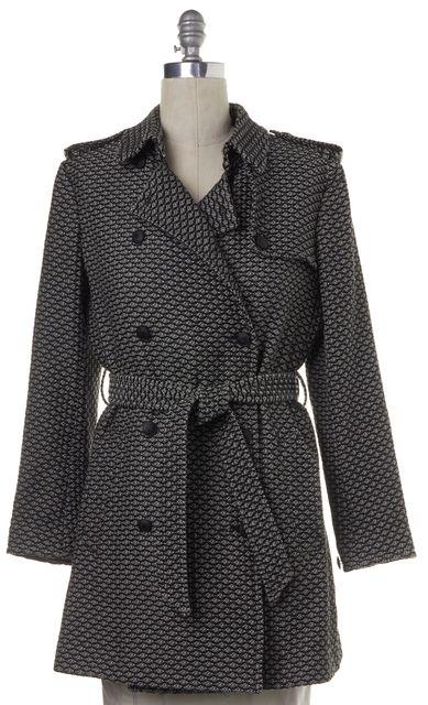 RAG & BONE Black White Printed Double Breasted Belted Coat
