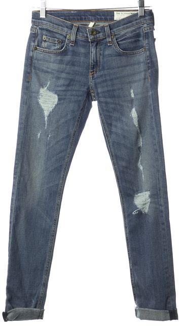 RAG & BONE Blue Perry Dre Slim Fit Distressed Skinny Classic Stretch Jeans